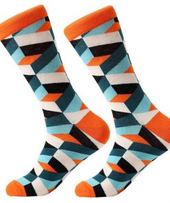 Dorai Socks - Pattern Orange White Blue